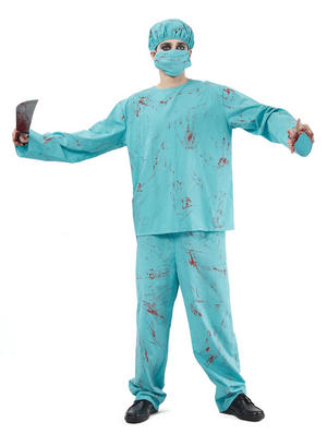 Unisex Green Surgeon Blood Spattered Scrubs Fancy Dress Costume Halloween New