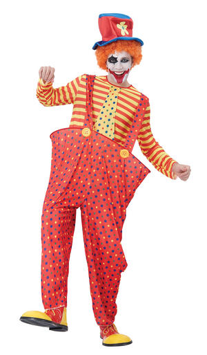 Mens Clown With Red Hoop Trousers Fancy Dress Costume Childrens Party Outfit