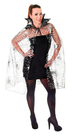 Ladies Spider Web Cape Halloween Fancy Dress Costume Womens Outfit UK 10-14