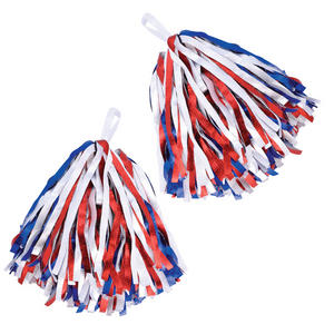 Set of 2 Red Blue & White Cheerleader Pom Poms High School American Football