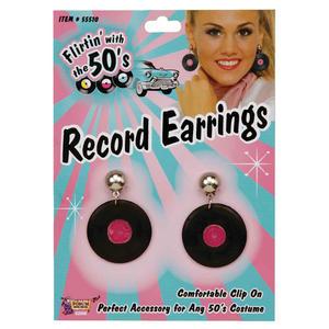 Black Vinyl Record Earrings 1950S Fancy Dress Costume Prop Jewellery