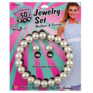 1950S Pearl Effect Necklace & Earring Set Fancy Dress Costume Jewellery