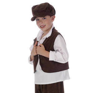 Childrens Brown Urchin Waistcoat Oliver Twist Fancy Dress Costume Prop