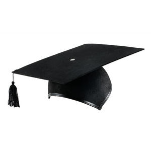 Adult Black Mortar Board Felt Graduation Hat Cap Fancy Dress Prop