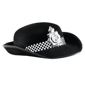 Felt Black Police Woman Hat Fancy Dress Hen Party Accessory Ladies Uniform