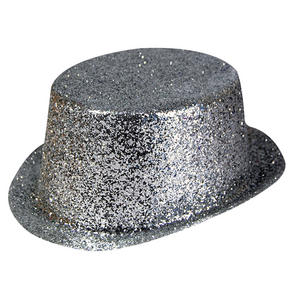 Adult Silver Top Hat Fancy Dress Costume Outfit Prop