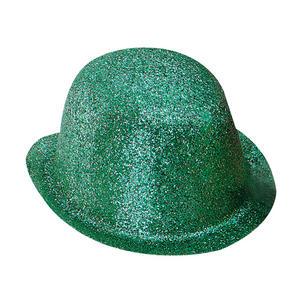 Adult Green Glitter Bowler Hat St Patricks Day Ireland Irish Fancy Dress Prop