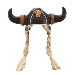 Adult Viking Helmet & Blonde Plaits Fancy Dress Costume Hat Prop