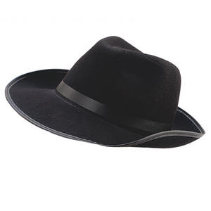 Adult Black Felt Gangster Hat Bugsy Malone Al Capone Fancy Dress Prop