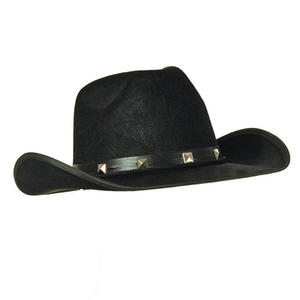 Adult Black Felt Cowboy Hat Studded Stetson Fancy Dress Prop
