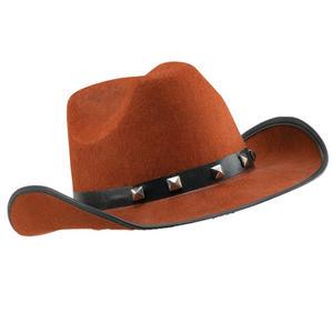 Adult Brown Felt Cowboy Hat Studded Stetson Fancy Dress Prop