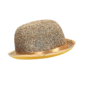 Adult Gold Lurex Bowler Hat Tap Dancing Fancy Dress Costume Prop