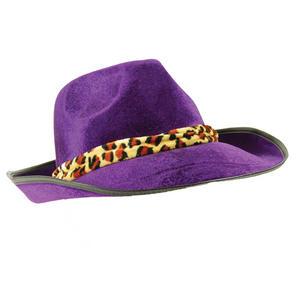 Adult Purple Velvet Fedora Hat Pimp 70S Gangster Disco Fancy Dress Costume Prop