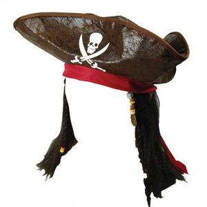 Adult Jack Sparrow Pirate Hat & Hair Wig Fancy Dress Costume Prop Buccaneer Prop
