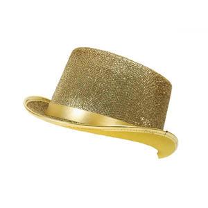 Adult Gold Glitter Lurex Top Hat Tap Dancing Fancy Dress Costume Prop