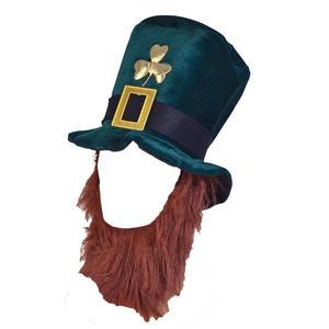 Adult Green Leprechaun Hat & Ginger Beard Fancy Dress St Patricks Day Irish