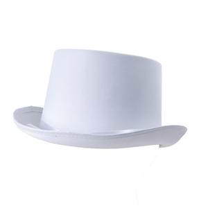 Adult White Satin Top Hat With Ribbon Fancy Dress Costume Wedding Prop