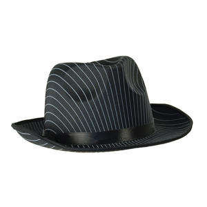 Adult Black Pinstripe Hat Fedora Trilby Gangster 20S Fancy Dress Costume Prop