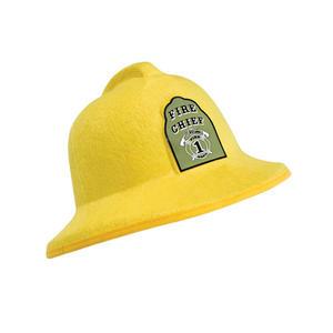 Adult Yellow Felt Fireman Helmet With Badge Fire Chief Fancy Dress Costume Prop