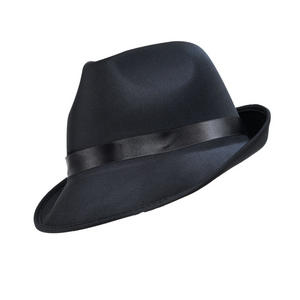 Adult Madness Hat Black Fedora Accessory For 50S 60S Gangster Fancy Dress