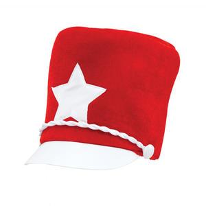 Adult Majorette Hat Red Soft Felt Marching Band One Size Unisex Fancy Dress Costume