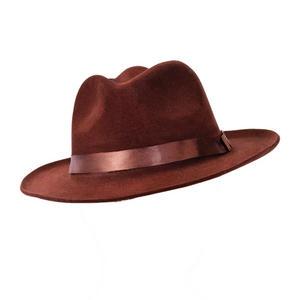 Adult Brown Velvet Fedora Hat Indiana Jones Gangster 1920S Fancy Dress Prop