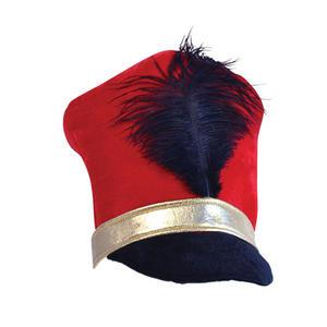 Adult Red Black & Gold Toy Soldier Majorette Hat Little Drummer Boy Fancy Dress
