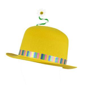 Adult Yellow Clown Bowler Hat & Flower Felt Joker Fancy Dress Prop