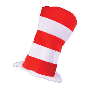 Adult Red & White Striped Top Hat Mr Tom Dr Seuss Fancy Dress Accessor