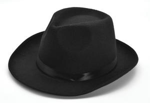 Adult Black Gangster Hat 1920S Trilby Great Gatsby Fancy Dress Accessory
