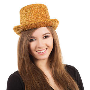 Adult Gold Tinsel Top Hat Hollywood Hen Night Fancy Dress Costume Accessory