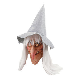Adult Witch Mask With Grey Hat & Hair Wicked Wench Scary Fancy Dress Accessory