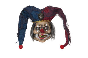 Adult Deluxe Deranged Jester Mask Halloween Circus Joker Horror Halloween Fancy Dress Accessory