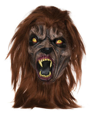 Adult Brown Wolf Mask Midnight Werewolf Halloween Fancy Dress Accessory