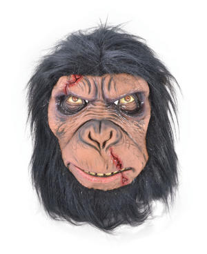 Adult Zombie Chimp Mask Simian Ape Scary Monkey Halloween Fancy Dress Accessory