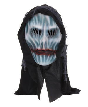Adult Black Hodded Ghost Mask Scream Grim Reaper Halloween Fancy Dress Accessory