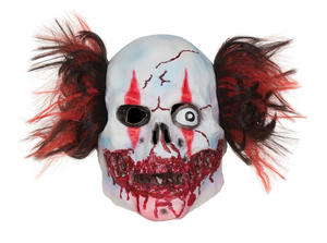 Adult Scary Clown Mask Bloody Manic Circus Halloween Fancy Dress Accessory