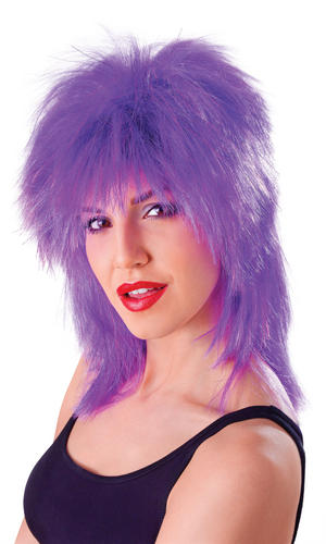 Adult 80S Punk Rock Purple Tinsel Tina Turner Mullet Wig Fancy Dress Party