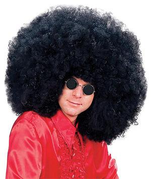 Adult Xl Black Afro Wig Jimmy Hedrix Rock Star Fancy Dress Costume Accessory