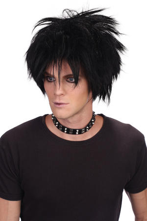 80S Black Spikey Rock Star Wig Gothic Punk Celebrity Rocker Fancy Dress Accessory