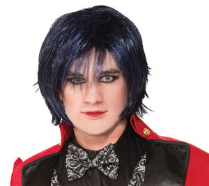 Adult Black Indigo Night Wig Halloween Punk Gothic Goth Fancy Dress Accessory