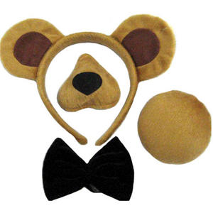 Childrens 4 Piece Bear Fancy Dress Costume Outfit Ears Nose Tail Bowtie