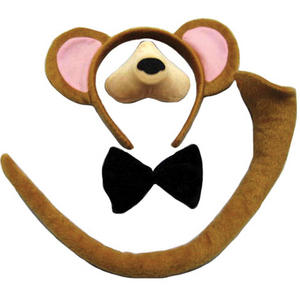Childrens 4 Piece Monkey Fancy Dress Costume Outfit Ears Nose Tail Bowtie