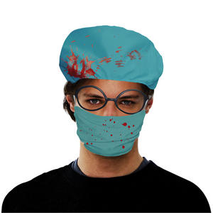 Adult Fake Bloody Surgeon Scrubs Hat With Mask Halloween Fancy Dress Costume Pro