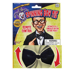 Black Remote Control Spinning Bow Tie Bowtie Funny Joke Fancy Dress