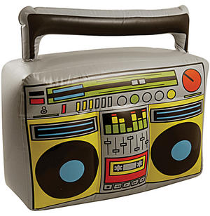 80s Retro Inflatable Boom Box Ghetto Blaster 1980s Fancy Dress Prop