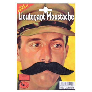 Black Lieutenant Moustache Tash - Dads Army Soldier Fancy Dress Prop