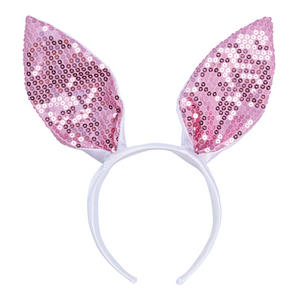 White & Pink Sequin Bunny Rabbit Ears Animal Fancy Dress Costume Prop