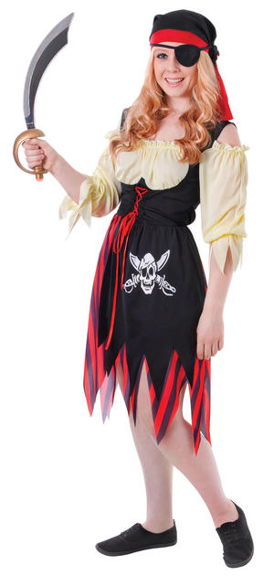 Ladies Pirate Fancy Dress Costume Red & Black Stripe Dress & Hat New Outfit