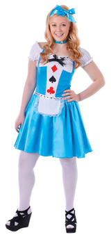 Ladies Alice in Wonderl& Blue Fancy Dress Costume Children Story Character New